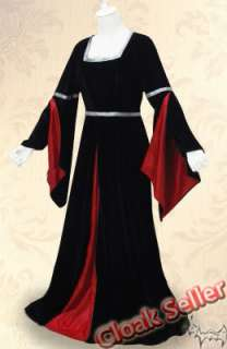Black Velvet Dresses Red Silk Wedding Gown Dance Dress Costume