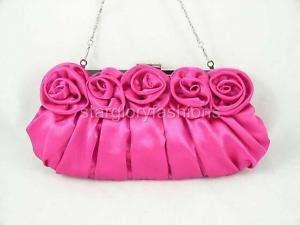 Fuchsia/Hot Pk Roses Pleated Wedding Clutch Rhinestones