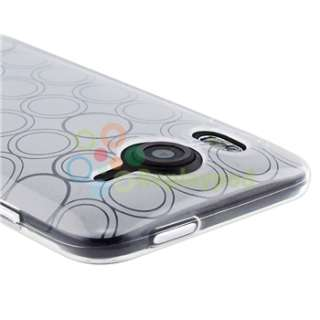Clear TPU Gel Skin Case+Car+AC Charger+Privacy Film For HTC Inspire 4G
