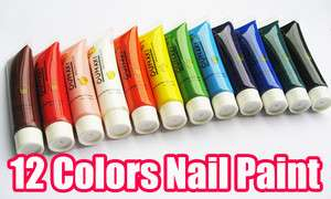 12 Colors 3D Nail Art Paint Tube Draw Painting Acrylic Nail Art Tip UV