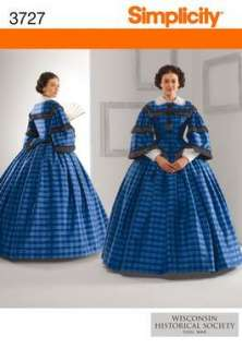 SIMPLICITY PATTERN 3727 CIVIL WAR DRESS COSTUME 8 14