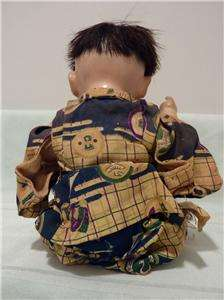 Antique Porcelain Ceramic Glass Eye Japanese Baby Doll + Kimono ESTATE