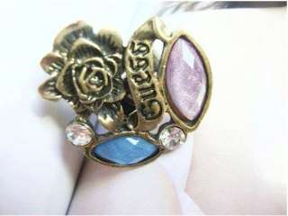 L4533 Fashion Crystal Antique Flower Ring Size 7 10
