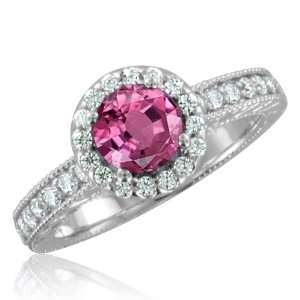Vintage Inspired Natural Pink Sapphire Diamond Engagement Ring