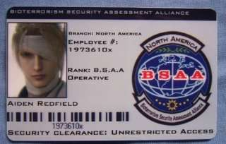 BSAA ID Card Aiden Redfield Resident Evil ID Card RE5