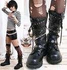 Visual Kei/BJD/Punk/Gothic 5 strap BOOTS 6.5/7 BLACK 36
