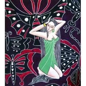High Quality Chinese Batik Tapestry Long Hair Girl
