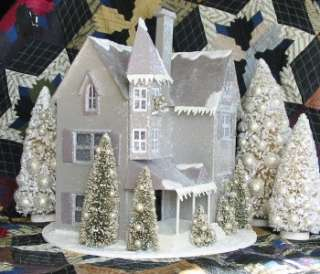 Large Gray Victorian Putz Christmas House Paper Mache Round Base