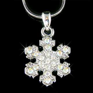 Simulated DIAMOND /Austrian Rhinestone Clear SNOWFLAKE Pendant with