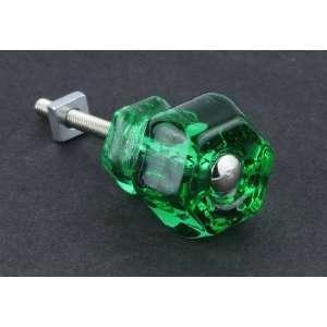 Antique Emerald Green Glass Knob   1 1/4