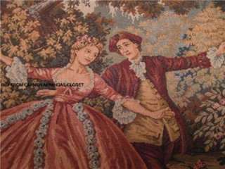 Vtg TAPESTRY made BELGIUM ROMANTIC MEDIEVAL VENICE ITALY SCENE MUSIC