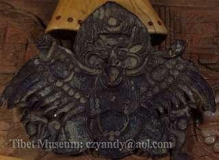 Amazing Antique Tibetan Gilded Red Copper Buddha Statue Garuda