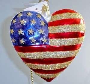 Radko Retired RARE Patriotic American Flag BRAVE HEART w/ Tag