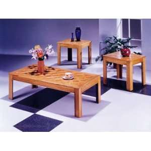 Acme 02168 3 Piece Calico Coffee/End Table Set, Oak Finish