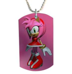 Sonic The Hedgehog Amy Rose Dog Tag Pendant Necklace