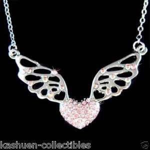 Swarovski Crystal ~Pink Fairy Angel Wings Heart~ Love Valentine