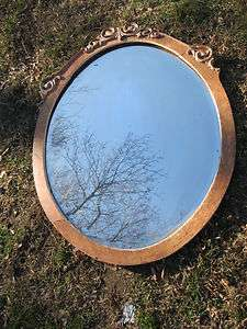 Antique Victorian Wooden Beveled Glass Mirror Wall Mantle