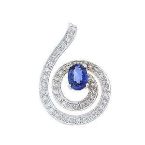 1.44CTW 18K White Gold Genuine Blue Sapphire and Diamond