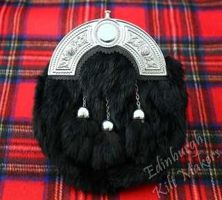 Cheap Full Dress Kilt Sporran Thistle Black Rabbit Fur