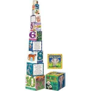 Babalu Wild Animals Building Blocks AND Board Book Set