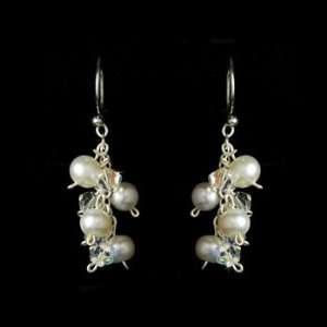 Silver White Pearl Crystals Dangle Earrings Jewelry