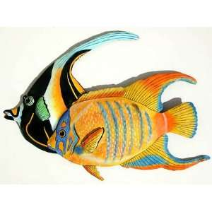 Angelfish Tropical Fish Wall Art in Painted Metal