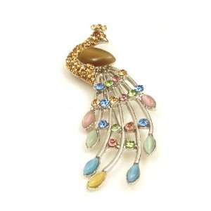 Color Austrian Rhinestone Peacock Bird Silver Tone Brooch Pin Jewelry