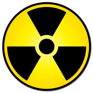 Nuclear Radiation Warning sign sticker decal 4 x 4