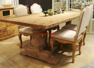 Bleached Pine Reclaimed Wood Trestle Dining Table