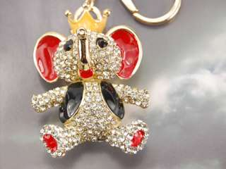 Enamel Painted Circus Elephant King Vest Crown Clear Crystal