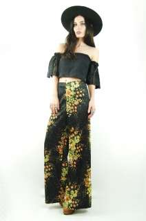 Vtg 70s Black LARGE FLORAL High Waist BELL BOTTOM Palazzo Festival
