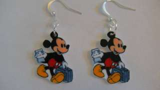 Disney Mickey Mouse Earrings Suitcase Map Traveler CUTE