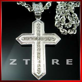 iced out bling hip hop cross pendant silver plated with cz stones