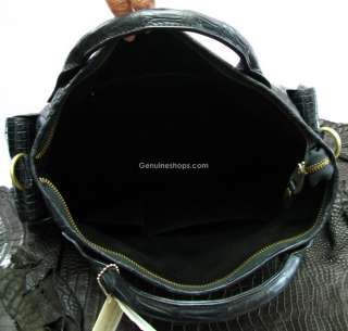 AUTH PREMIUM CROCODILE LEATHER HANDBAG TRAVEL BAG HOBO SHINY BLACK NEW
