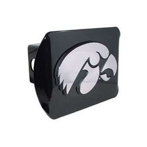 Iowa Hawkeyes Black Metal Trailer Hitch Cover with Chrome