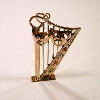 18K Gold Harp Comedy Tragedy Mask Vintage Charm Pendant