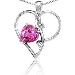 CandyGem 14k Gold Lab Created Heart Shape Pink Topaz and Diamond Heart