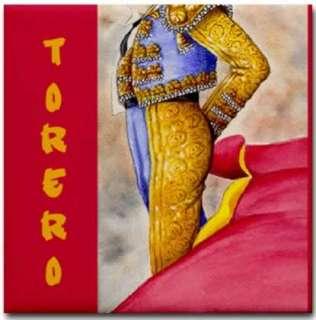 Spanish Torero Bullfighter Ceramic Art Tile Coaster