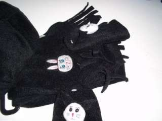 SET HAT MITTENS SCARF BLACK BUNNY RABBIT EARS BABY INFANT