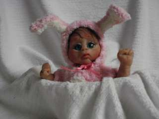 OOAK polymer clay baby girl art doll bunny partial sculpt ciao bella