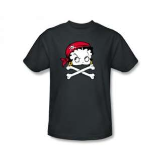 Betty Boop Pirate Queen Crossbones Retro Cartoon T Shirt Tee