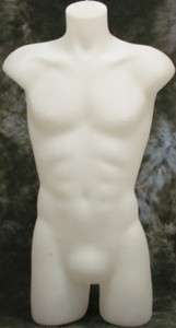 MALE FULL MANNEQUIN 3/4 TORSO DISPLAY FORM WHITE TSHIRTS JERSEYS