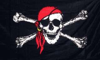 x5 NYLON JOLLY ROGER PIRATE RED BANDANA FLAG BANNER SKULL CROSS