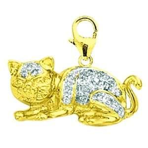 14K Yellow Gold Diamond Cat Charm: Jewelry