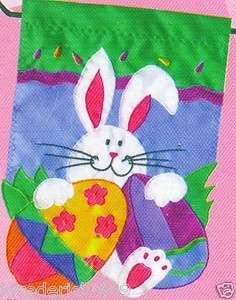 Small Toland Home & Garden Decorative Easter Bunny & Eggs Flag Banner