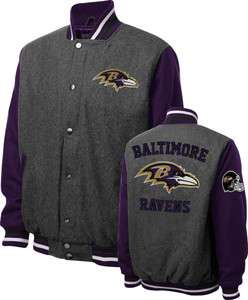 Baltimore Ravens Grey Wool Varsity Jacket Made by GIII