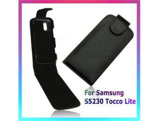 Black Flip Leather Case For SAMSUNG S5230 TOCCO LITE
