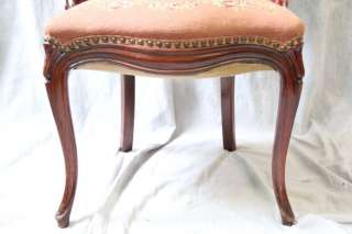 L234 ANTIQUE VICTORIAN MAHOGANY ROMANTIC NEEDLEPOINT PARLOR CHAIR