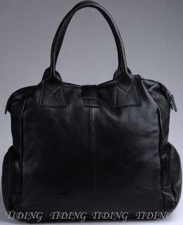 Genuine Leather Duffle Gym Bags Tote Unisex Black BNWT