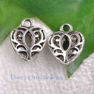 FREE SHIP 80pcs Tibetan Silver Heart Charms KP3175